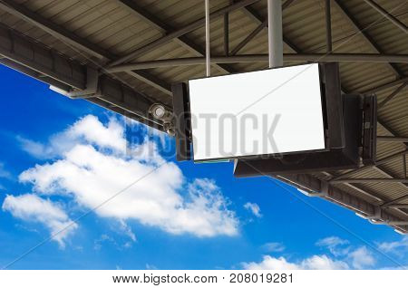 CCTV and LCD TV with white blank screen or billboard copy space for advertising or media and content marketing with blue sky and cloud, commercial, marketing and advertising concept