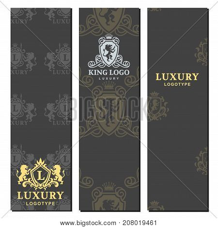Luxury boutique royal crest high quality vintage product heraldry card design collection brand identity vector illustration. Decorative quality wreath line.