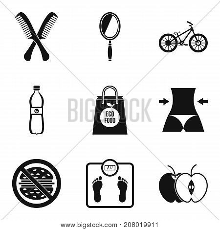 Healthy diet icons set. Simple set of 9 healthy diet vector icons for web isolated on white background