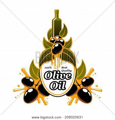 Olive oil icon or label of green and black olives for extra virgin product package design template. Vector oil bottle or jar and drops on olive leaf for best quality organic cooking oil