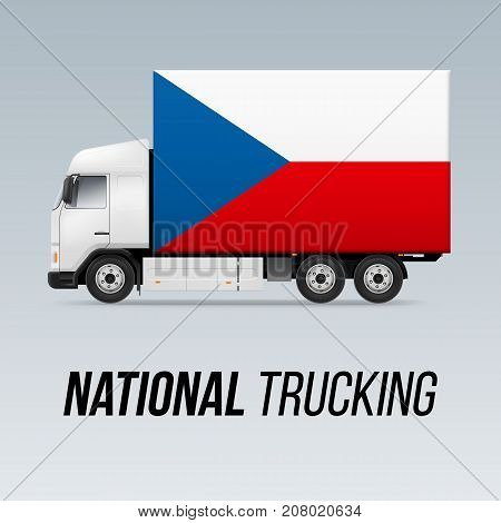 Symbol of National Delivery Truck with Flag of Czech Republic. National Trucking Icon and Czech flag