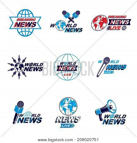 Social announcement logo emblems and leaflets collection. Vector Earth journalistic microphones and loudspeakers equipment composed with news breaking news and world live news inscription.