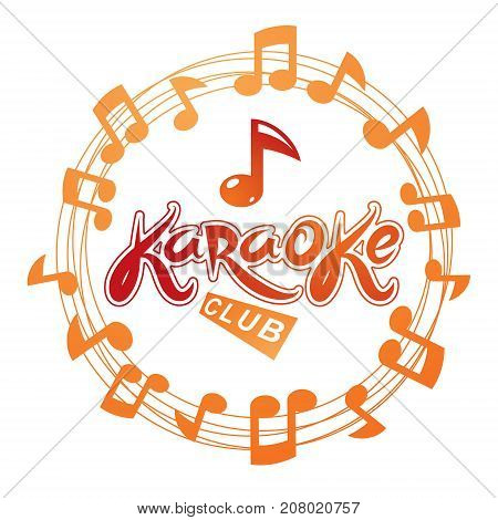 Karaoke club vector background composed with circular musical notes. Can be used as nightlife entertainment concept for advertising poster.