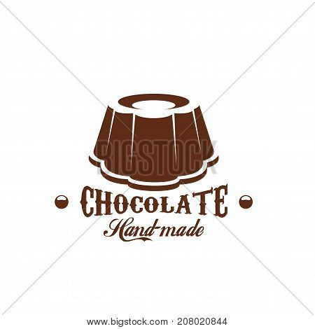 Chocolate dessert candy cafe icon for cafeteria or chocolate shop or bakery store. Vector choco cakes and pies, heart comfit and brownie or tiramisu torte of pudding for patisserie design template
