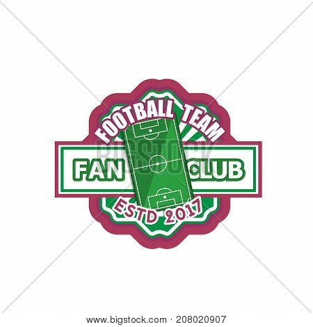 Soccer fan club or football team badge icon template. Vector isolated sport symbol of football ball, arena playing field and goal gates of championship soccer game tournament