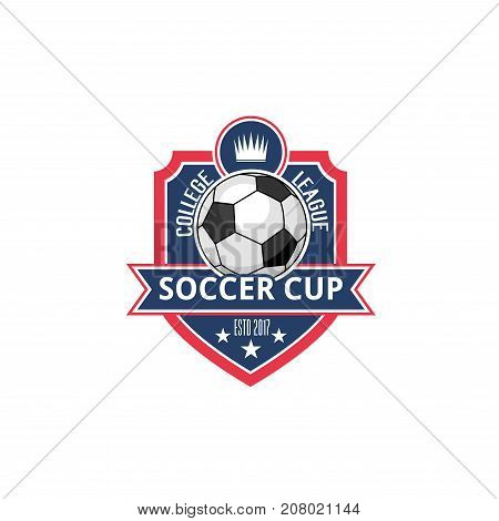 Soccer cup or college league fan club icon or badge of football ball, victory stars and crown. Vector isolated heraldic shield symbol for soccer sport university team or championship tournament