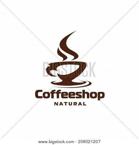 Coffee cup icon template for coffeeshop of coffeehouse and cafeteria. Vector hot steam cup of chocolate, strong espresso or americano steam, natural espresso beans or cappuccino drink
