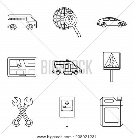Transportation of people icons set. Outline set of 9 transportation of people vector icons for web isolated on white background