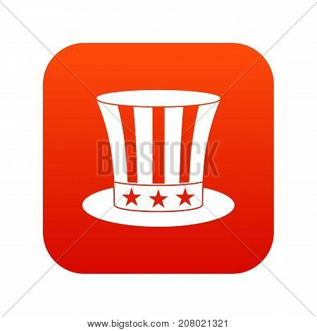 Uncle sam hat icon digital red for any design isolated on white vector illustration
