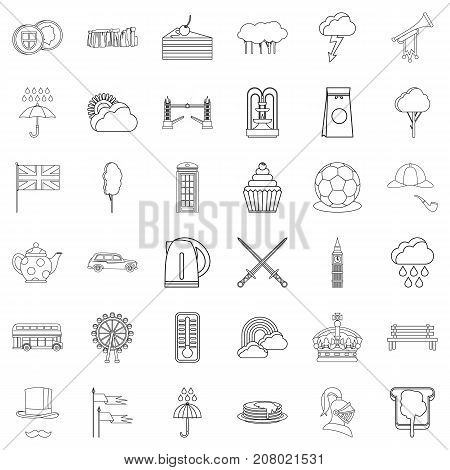 England icons set. Outline style of 36 england vector icons for web isolated on white background