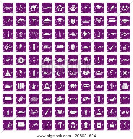 100 exotic animals icons set in grunge style purple color isolated on white background vector illustration