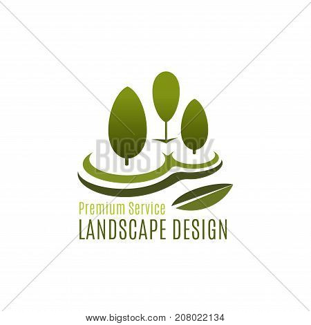 Gardening or landscape design association and green park horticulture company icon for urban garden planting. Vector symbol of forest tree, woodlands of eco village square trees