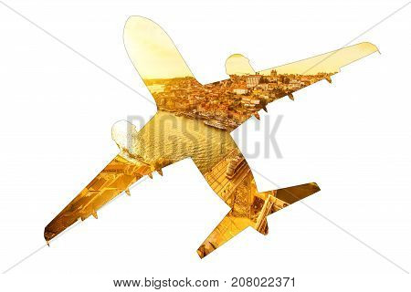 Tourism and holidays concept. Airplain silhouette, bottom view, with image of Douro River Bridge and Porto skyline in Portugal. Transport and travel concept. Isolated on white background. Copy space.