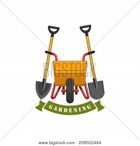 Gardening and farm planting gardener or farmer work tools icon. Vector isolated spade or rake and wheel cart with ribbon for green park or farming garden plantation and horticulture