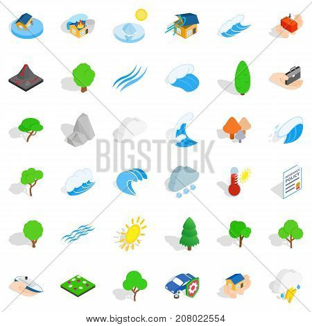 Global warming icons set. Isometric style of 36 global warming vector icons for web isolated on white background