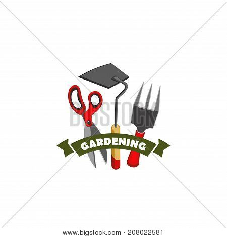 Gardening work tools icon of gardener shovel, rake and scissors for shop or farm store vector design template. for gardening season of horticulture company or farmer agriculture and garden planting