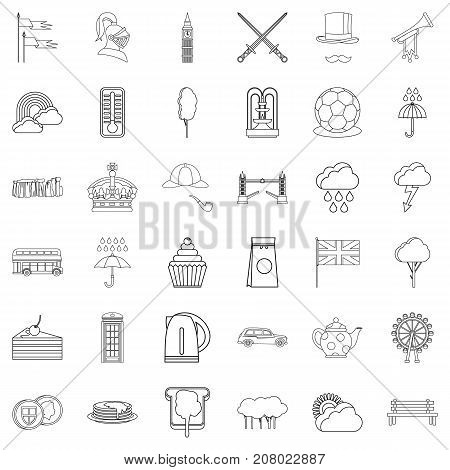 London icons set. Outline style of 36 london vector icons for web isolated on white background