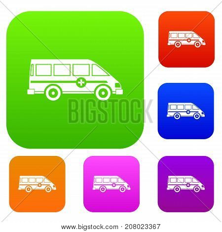 Ambulance emergency van set icon color in flat style isolated on white. Collection sings vector illustration
