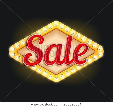 Sale icon design of light bulbs lamp signage in retro style. Vector isolated symbol for seasonal sale and shop or store promo and black Friday discount offer illuminated neon lights advertising sign