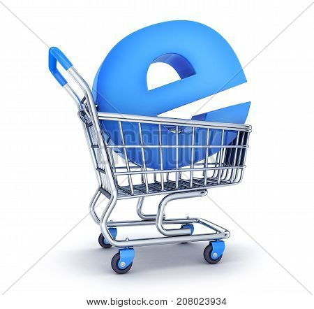 Cart and symbol e-shop on white background. 3d illustration
