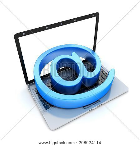 Laptop and blue at sign. 3d illustration