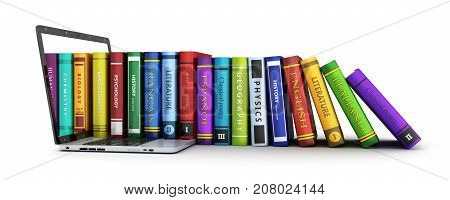 Laptop and many book row. 3d illustration