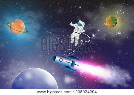 Space exploration with retro rocket planets , stars and astronaut on space background with rays and flares vector illustration.
