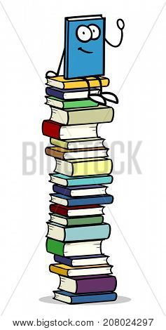 Cartoon book figure or character sitting on stack of books