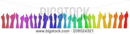 Many hands holding thumbs up in rainbow colors as cooperation or teamwork concept