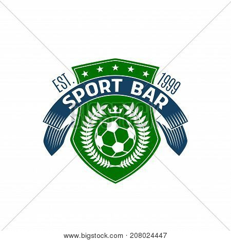 Soccer sport bar or football tournament fan pub icon design template. Vector isolated badge of soccer ball on green playing field shield and heraldic ribbon for football league live championship bar