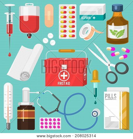 Medical instruments and doctor tools medicament in cartoon style medication hospital health treatment vector illustration. Emergency healthy professional first aid kit.