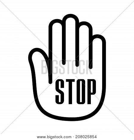 Hand palm open stop up logo icon. Outline illustration of umbrella hand palm with open stop vector illustration for print or web design.
