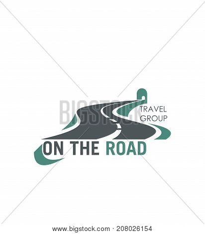 Road icon for travel group or tourist company and agency. Vector isolated curved highway or traffic lane path and motorway horizon, tunnel and bridge for road journey or travel voyage template