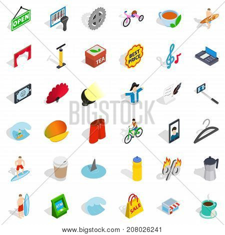 Card reader icons set. Isometric style of 36 card reader vector icons for web isolated on white background