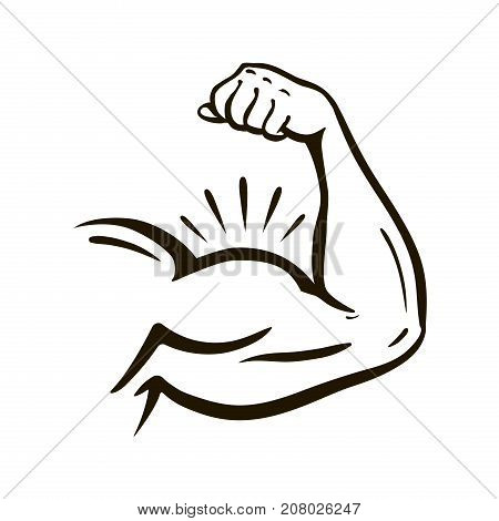 Power hand, bicep. Gym, arm wrestling, powerlifting, bodybuilding champion sport symbol Vector illustration