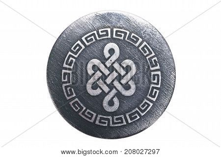 intricate ornament on a metal pendant, isolated