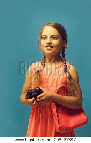Pupil With Braids And Happy Face On Blue Background