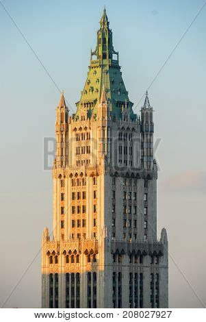 New York City - December 8, 2007: Aerial view of the Woolworth Building in downtown Manhattan New York City