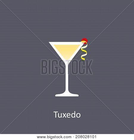 Tuxedo cocktail icon on dark background in flat style. Vector illustration