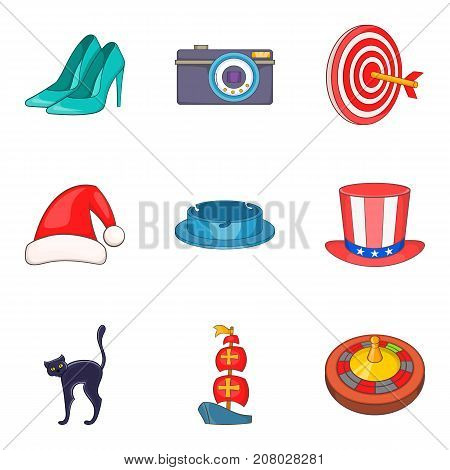 Sunday show icons set. Cartoon set of 9 sunday show vector icons for web isolated on white background