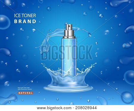 Ice toner cosmetic ads design. Realistic spray bottle water splashand drops on a blue background.