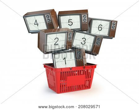 Shopping backet and old TV sets with different channels on the screens isolated on white. Advertising tv channels concept. 3d illustration