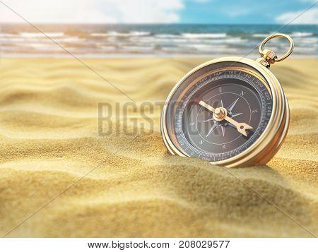 Compass on sea sand. Travel destination and navigation concept. 3d illustration