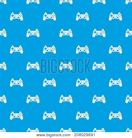 Game controller pattern repeat seamless in blue color for any design. Vector geometric illustration