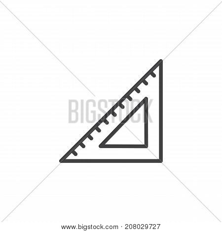 Triangular rule line icon, outline vector sign, linear style pictogram isolated on white. Symbol, logo illustration. Editable stroke