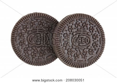 BANGKOK Thailand - September 27 2017: OREO cookies in two pieces consisting of two chocolate wafers with a sweet creme filling in between (American famous cookies brand)