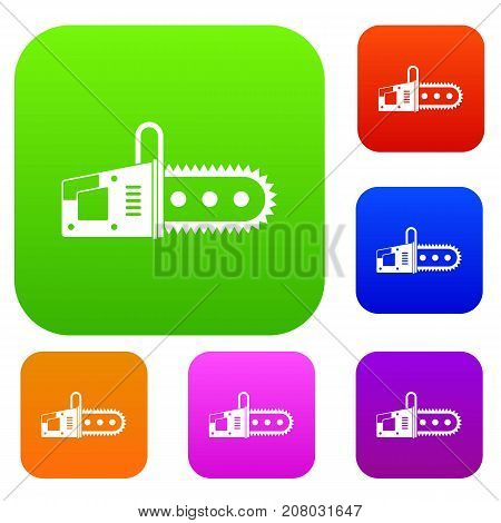 Chainsaw set icon color in flat style isolated on white. Collection sings vector illustration