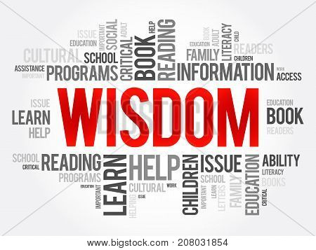 Wisdom Word Cloud Collage, Education Concept Background