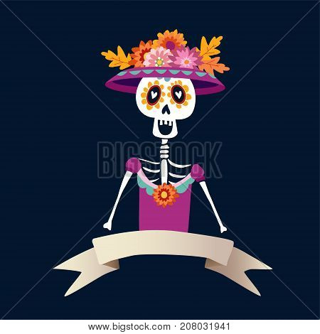 Dia de Los Muertos greeting card, invitation. Mexican Day of the Dead. Skeleton woman with flowers. Ornamental skull, hand drawn vector illustration, background.