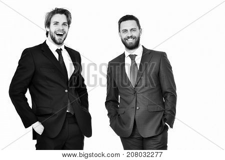 Happy Men, Businessmen With Beard On Smiling Face In Outfit